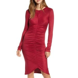 Leith Red Ruched Long Sleeve Dress